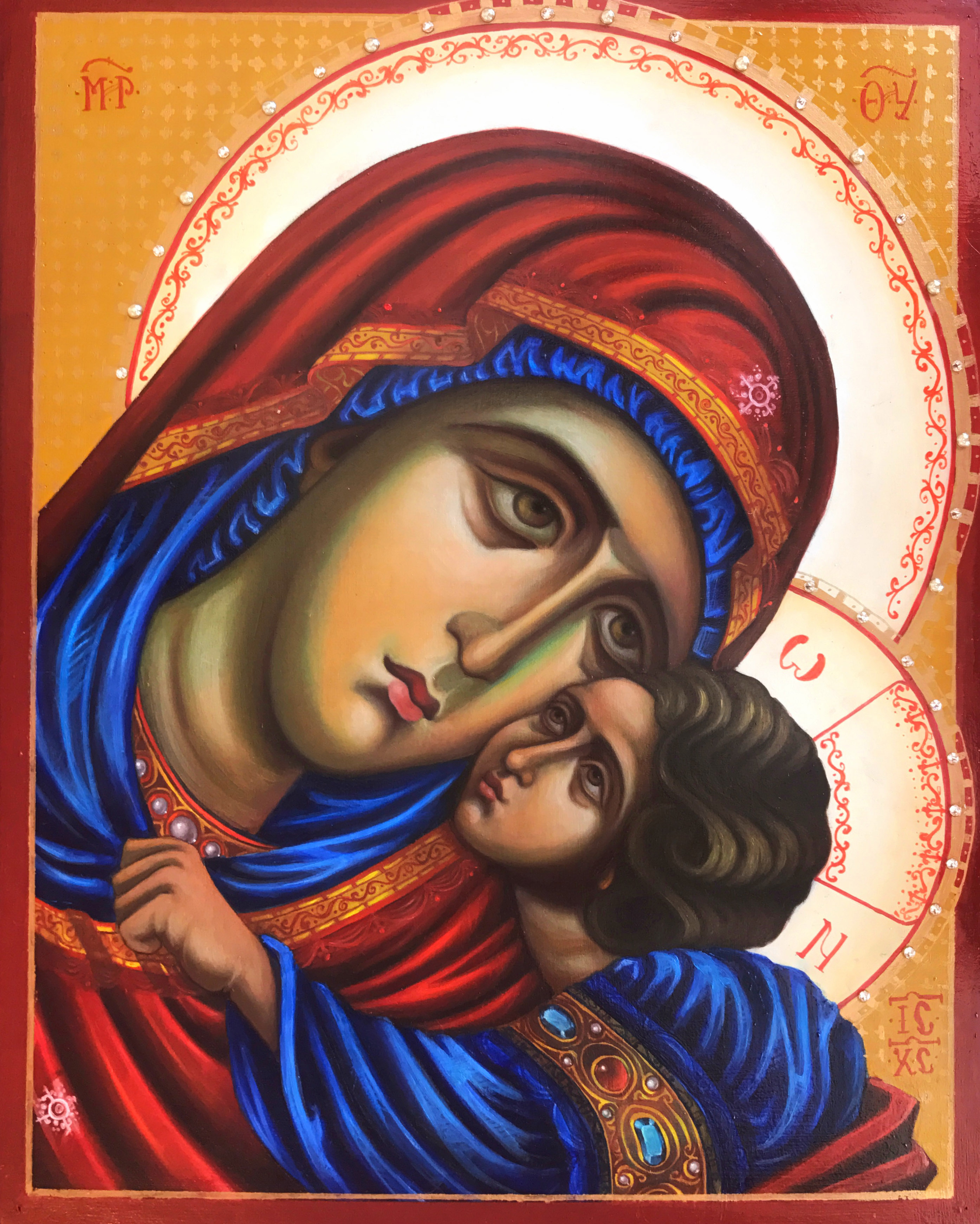 Theotokos Glykophilousa. Oil. 11x14in