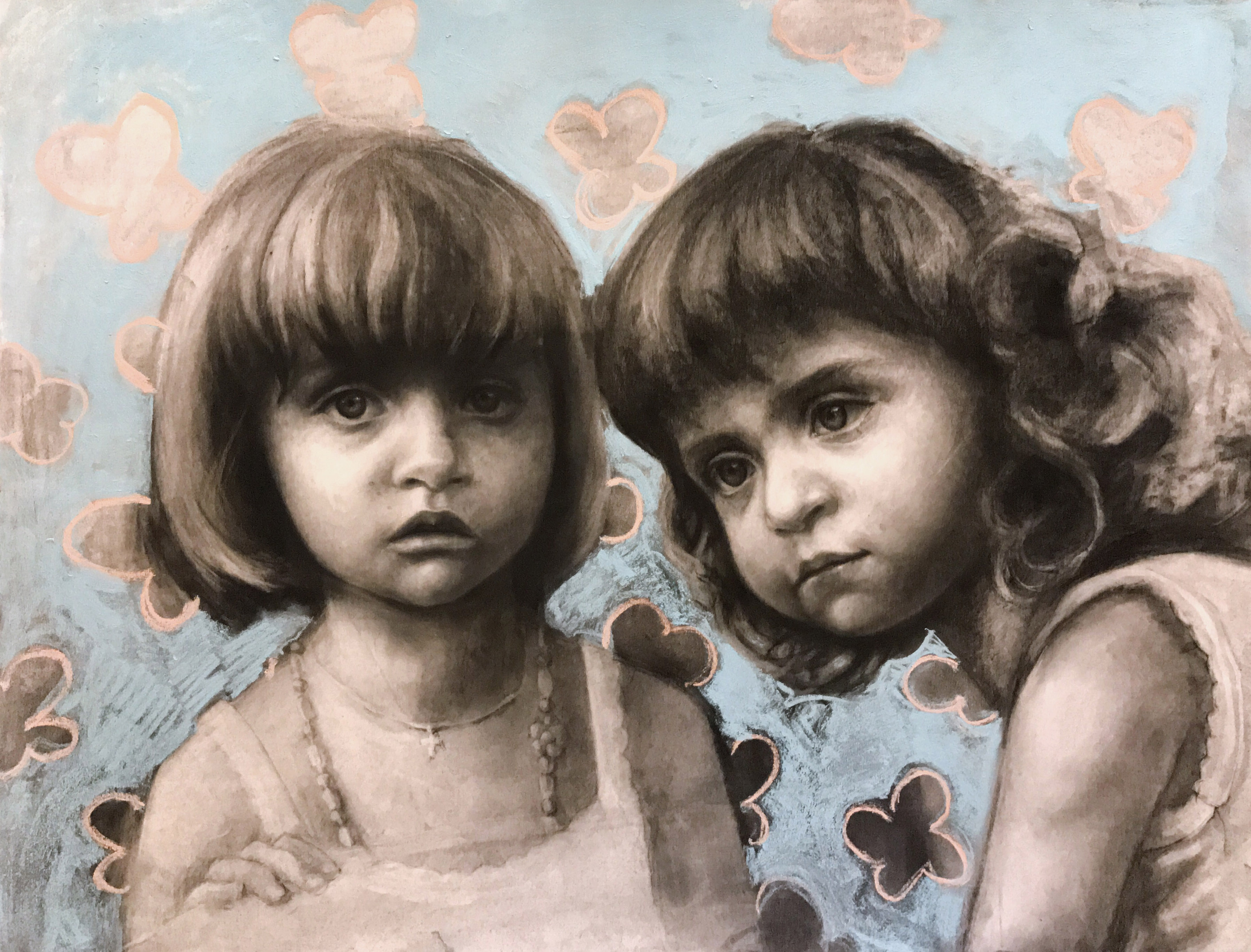 Anna and Claudia. Charcoal. 20x26in
