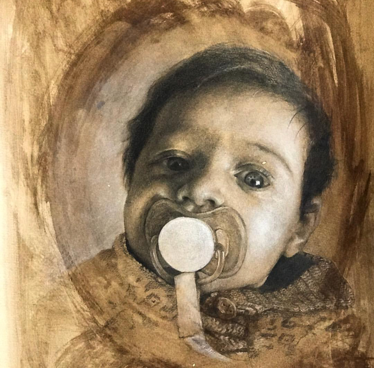 Theo. Graphite and Chalk. 18x16in