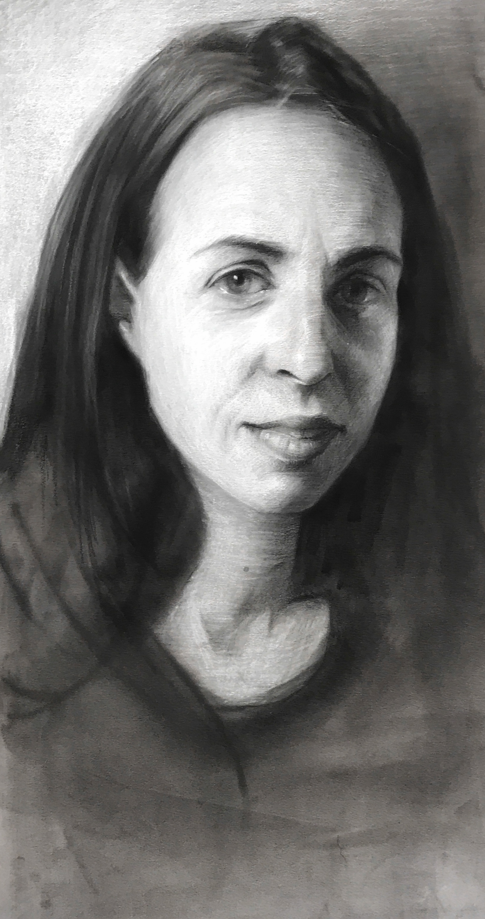 Study of Katie. Charcoal and chalk. 12x7""
