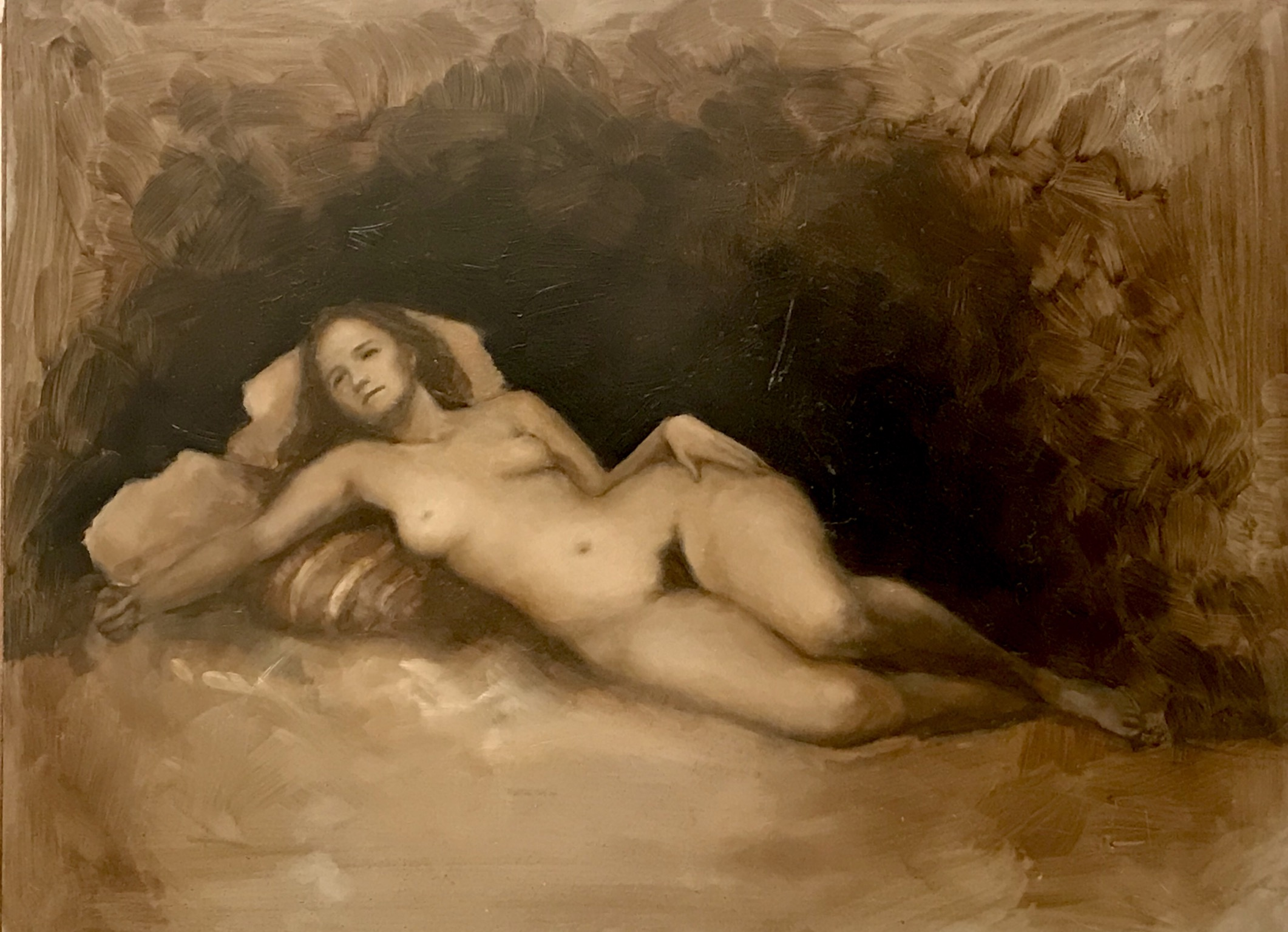 Reclining Venus. Oil on panel. 16x12""